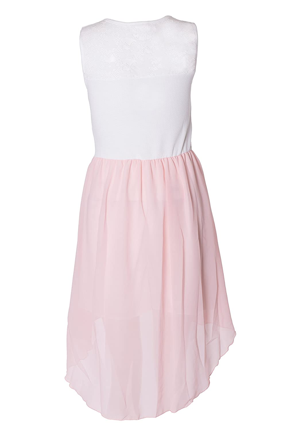 Girls Sleeveless Waist Band Asymmetrical Chiffon Dress with Neckless