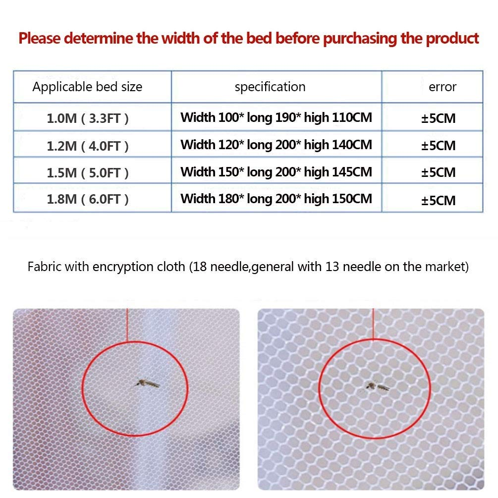 NSHUN Anti Mosquito Nets Pop Up Mosquito Net Bed Tent with Bottom Mosquito Nettings Folding Portable for Baby Toddlers Kids Adult (Color : Blue, Size : 1.2m) by NSHUN (Image #3)