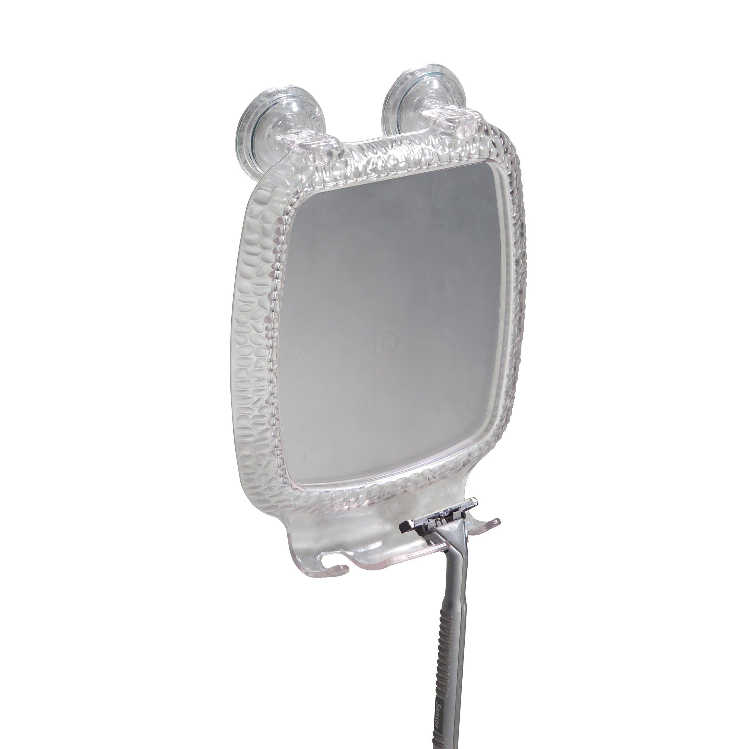 InterDesign Rain Power Lock Suction, Bathroom or Shower Shaving Mirror with Razor Holder - Clear by InterDesign