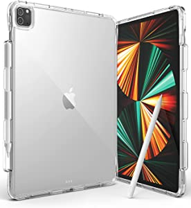 Ringke Fusion Plus Compatible with iPad Pro 12.9 inch 2021 Case, Transparent Back Cover with Attached Pencil Holder [Over Charge Prevention] [Double Air Pocket Tech] - Clear