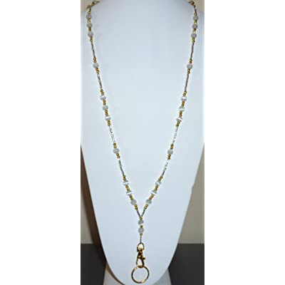 Gold White /& Pearls ID Badge Holder Tag HANDMADE Beaded Lanyard Fashion Necklace
