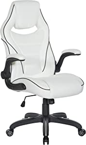 OSP Furniture Xeno Ergonomic Adjustable Gaming Chair, White with Black Accents