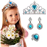 Princess Pretend Toy Crown Earrings Ring Set Every Toddlers Girls-Blue