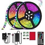 LED Strip Light,32.8ft/10m RGB LED Light Strip with 44 Keys IR Remote, 12V Power Supply 5050 RGB 600 LED Flexible Color…