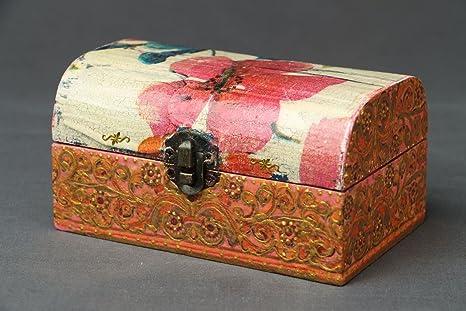 Caja de madera decorativo hecho a mano