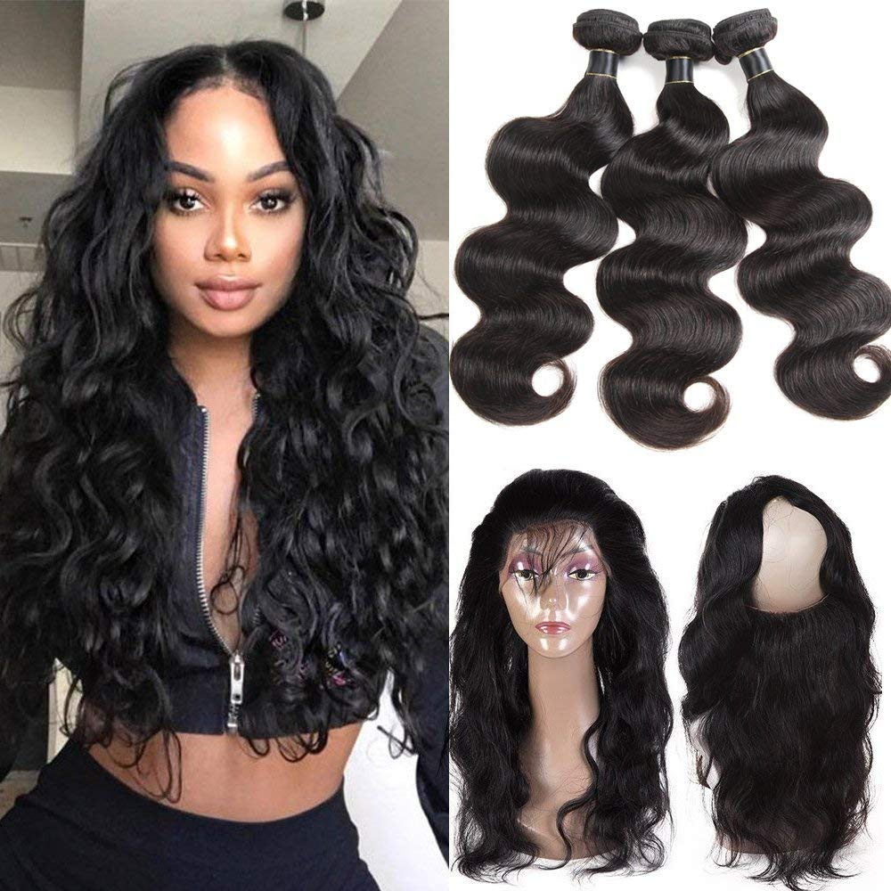 10A Malaysian Body Wave Bundles With 360 Lace Frontal Virgin Malaysian Body Wave Human Hair Bundles with 360 Lace Closure Malaysian Human Hair Body Wave with 360 Frontal Closure (22 24 26+20, natural)