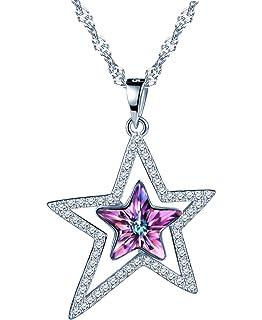 a8548271389dd SIXLUO Collier femme fille Pendentif cristal violet L étoile brillante  magique Collier en argent 925