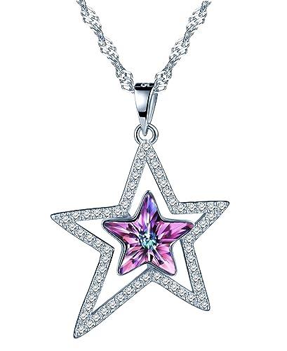 7acaefeea3af Collares mujer-SIXLUO Collar de Plata 925 con Colgante de Estrella Cristal  Swarovski  Amazon.es  Joyería