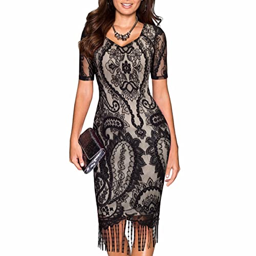 Samtree Women's Vintage Short Sleeve Floral Lace Work Business Party Bodycon Pencil Dress