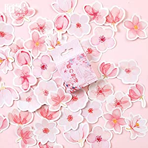 45PCS Small Scrapbooks Laptop Stickers, Doraking Boxed Sakura Tapes Stickers for Laptop, Scrapbooking, Suitcase, Wallet (Sakura Monogatari, 45PCS/ Box)