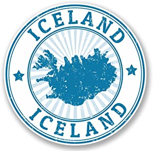 2 x 10cm- 100mm Iceland Vinyl SELF ADHESIVE STICKER Decal Laptop Travel Luggage Car iPad Sign Fun #4714