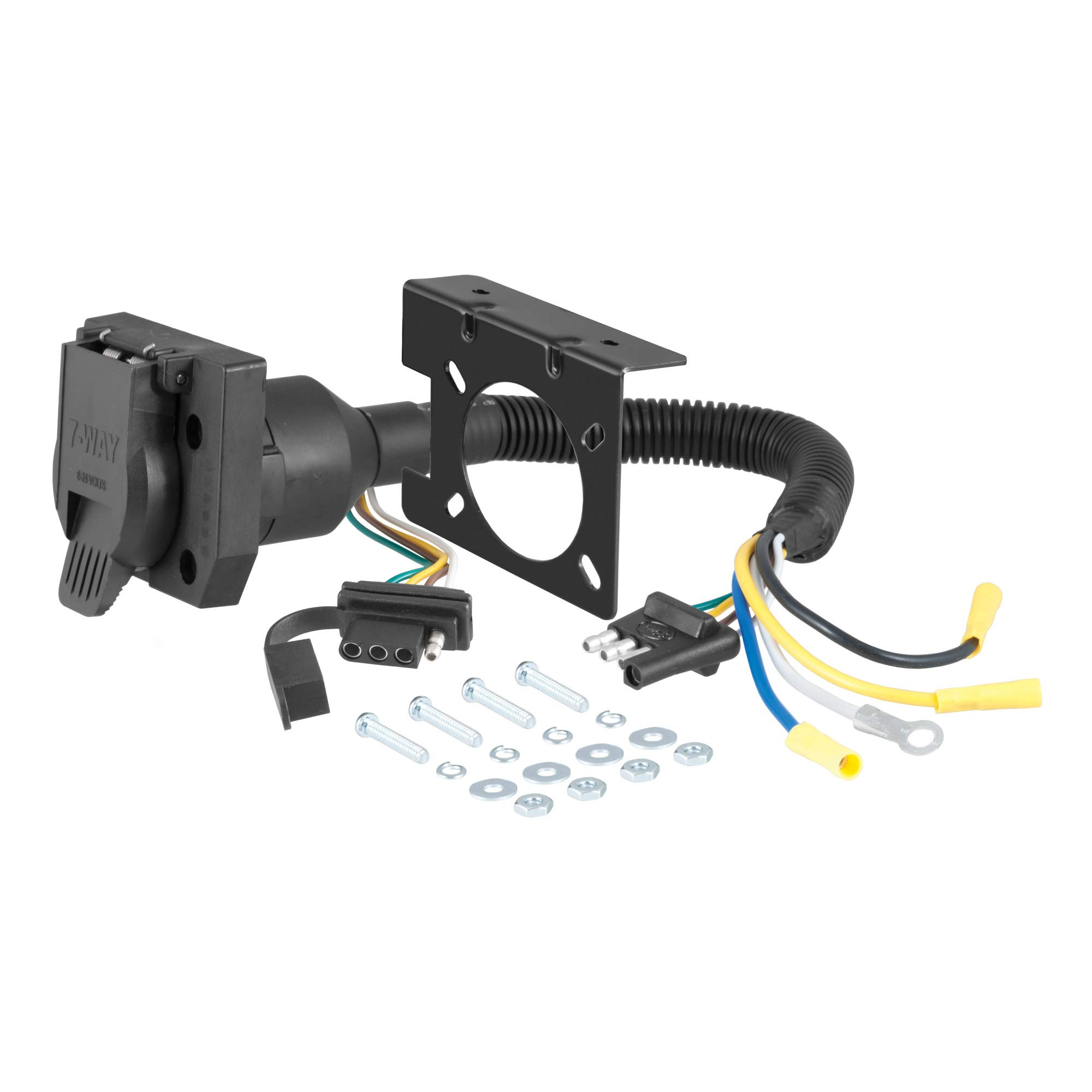 CURT 57672 Dual-Output 4-Way Flat Vehicle-Side to 7-Way RV Blade Trailer Wiring Adapter