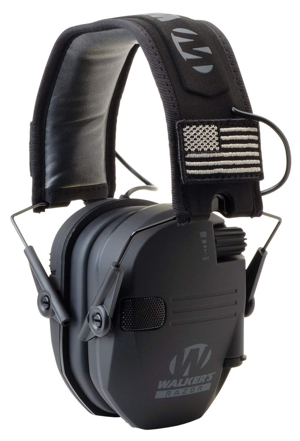 Walkers Razor Slim Electronic Hearing Protection Muffs with Sound Amplification and Suppression and Shooting Glasses Kit, Black Patriot by Walkers (Image #3)