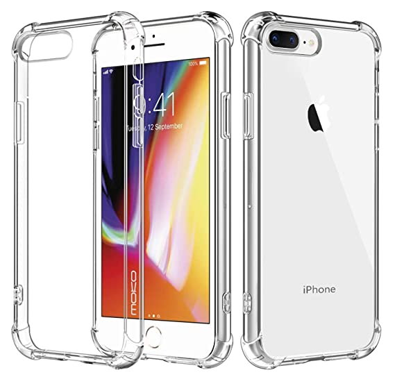 promo code e5734 73e2b MoKo Cover Compatible for iPhone 7 Plus Case/iPhone 8 Plus Case, Reinforced  Corners TPU Bumper Cushion + Hybrid Rugged Transparent Panel Cover for ...