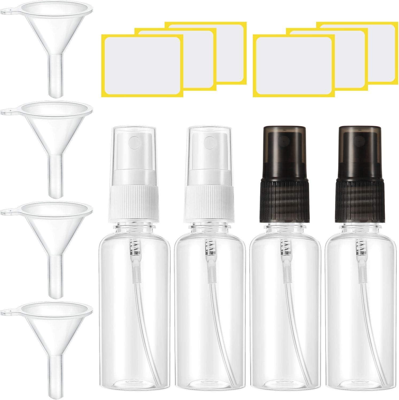 4 Sets Botellas de Spray Plástica Pequeña Botella de Niebla Fina Transparente 30 ml Contenedor Líquido Spray de Viaje Recargable con Embudo y Etiqueta Adhesiva para Cosmético Artículos de Tocador