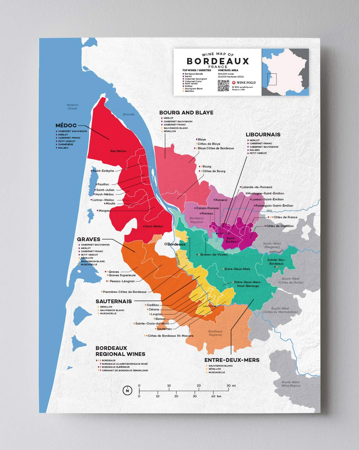 Map Of France To Print.Wine Folly France Bordeaux Wine Map Poster Print 12 X 16