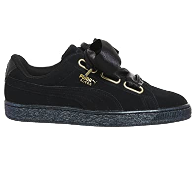 new arrivals 1d5cb bf082 Puma Suede Heart Satin Womens Sneakers Black