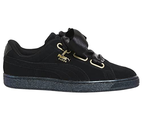 20599b8c1acde6 Puma Women s Suede Heart Satin WN s Black Leather Sneakers - 7 UK India  (40.5