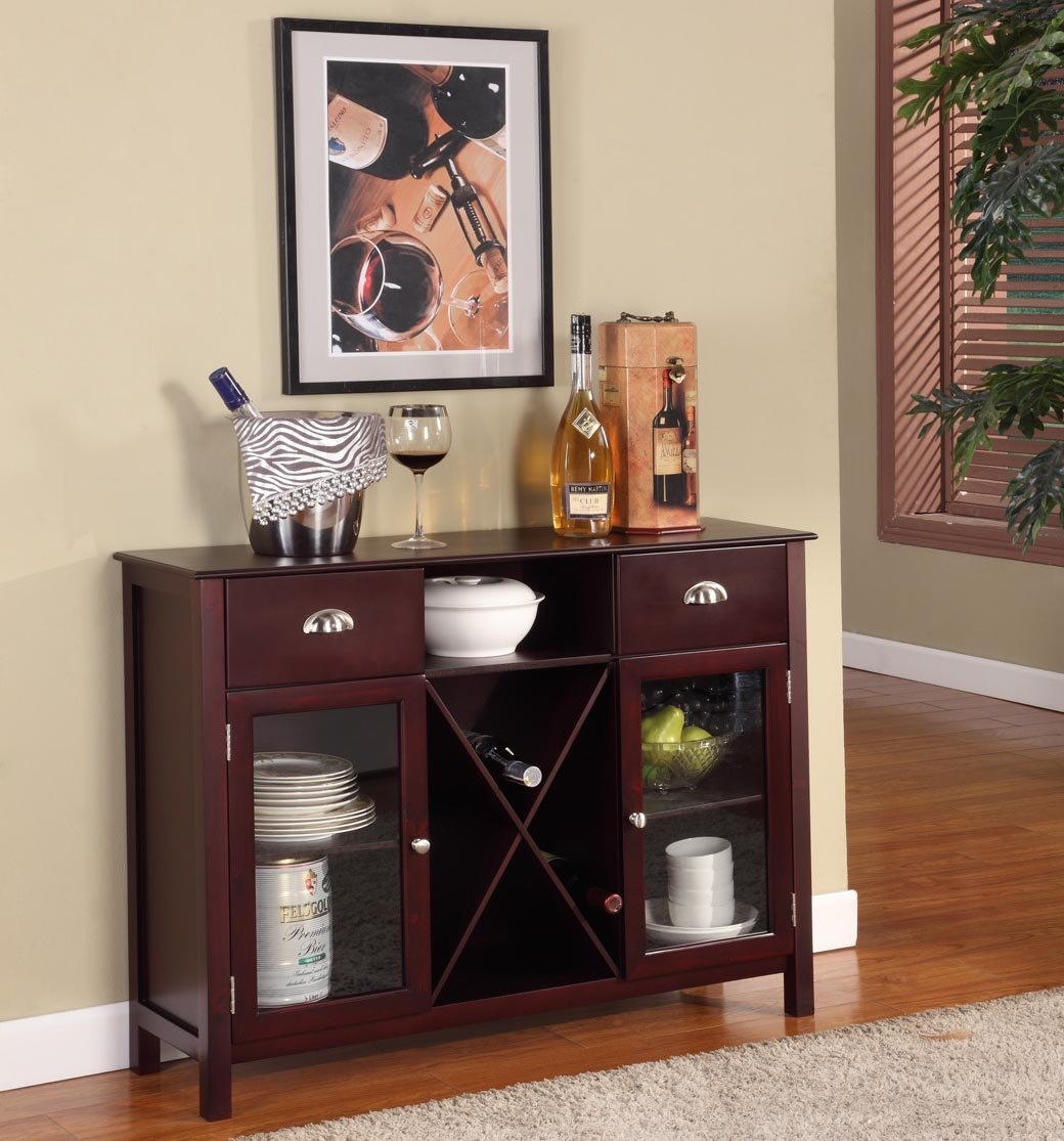 Amazon.com Kingu0027s Brand WR1241 Wood Wine Rack Console Sideboard Table with Drawers and Storage Cherry Finish Kitchen u0026 Dining & Amazon.com: Kingu0027s Brand WR1241 Wood Wine Rack Console Sideboard ...