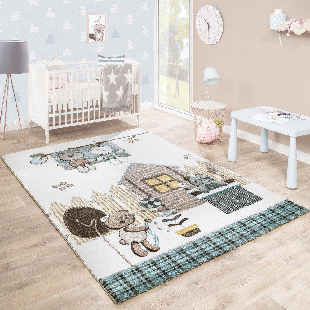 Paco Home Kinderteppich Kinderzimmer Konturenschnitt Bären Design Creme Braun Pastellfarben, Grösse:120x170 cm