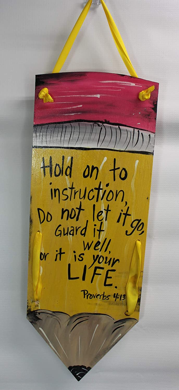 Amazoncom Hold On To Instruction Wooden Pencil Sign Handmade