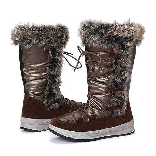 gracosy Damen Winterstiefel rutschfeste Gefüttert Warm Winterschuhe Wasserdicht Schneeschuhe Flach Kurze Stiefel Leicht Winter Stiefeletten
