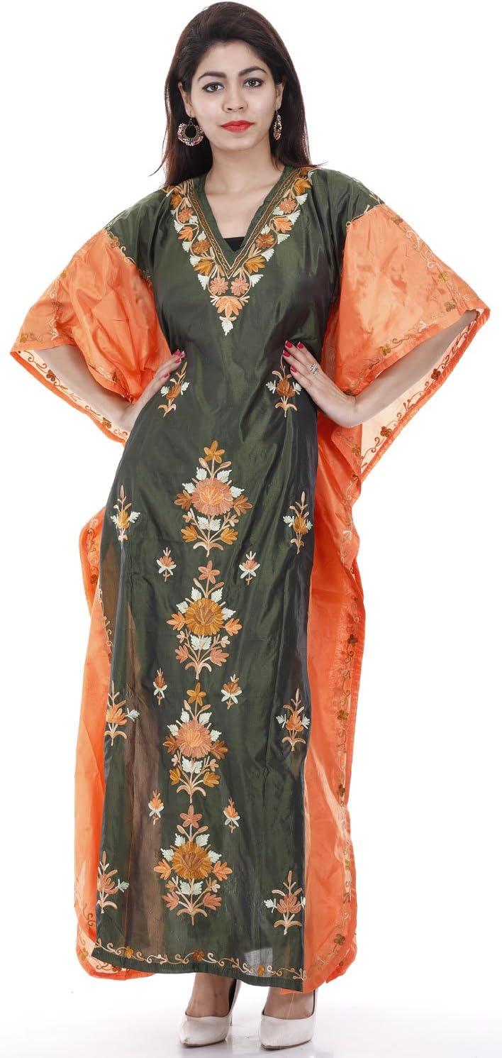 Fearther Earrings #621 Creativegifts Shaded Poly Silk Kashmiri Aari Work Designer Kaftan Maxi Dress Beachwear Cover Up