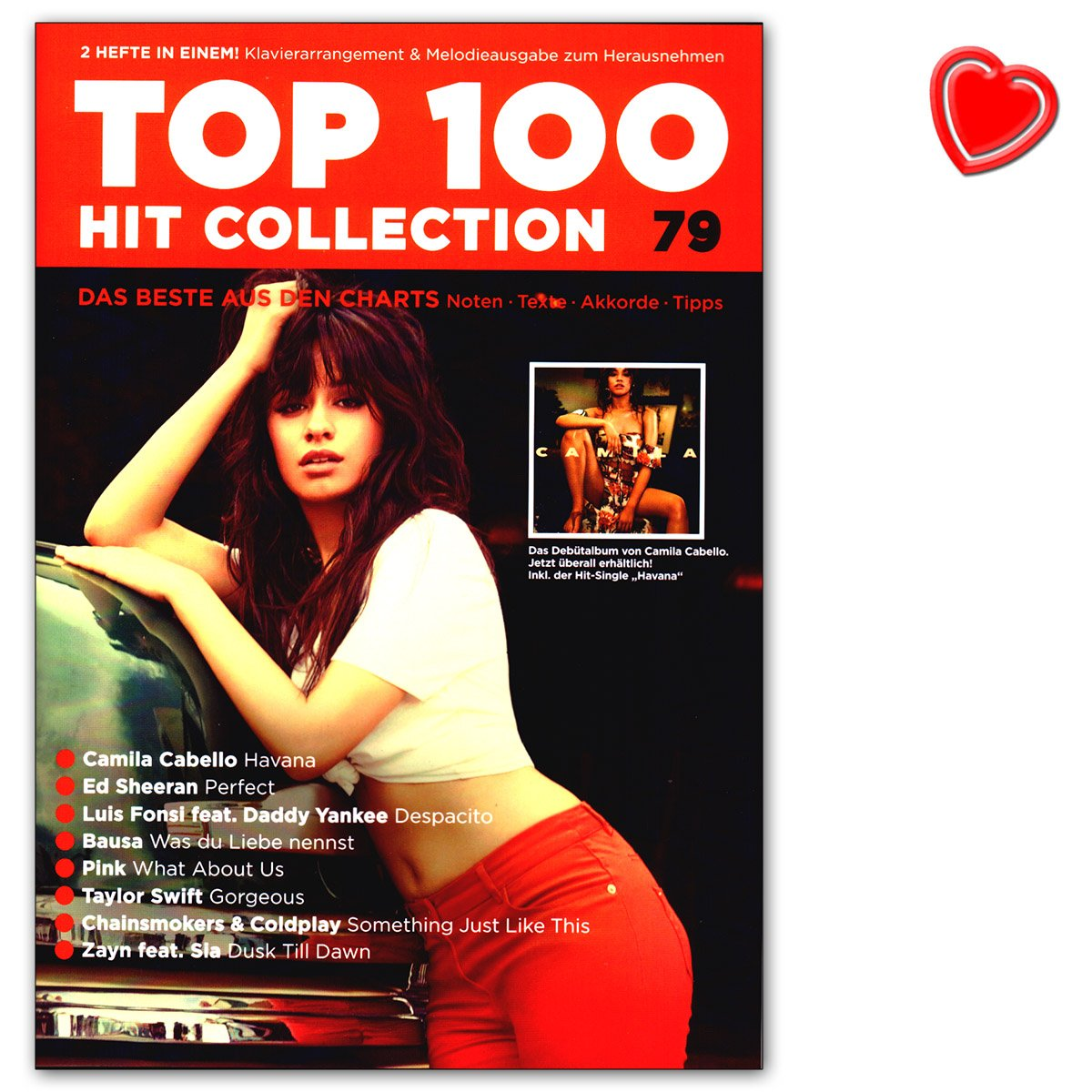 Top 100 Hit Collection 79 – ed Sheeran, Camilla Cabello, Luis fonsi, bausa. Song Book con colorato di cuore Music Factory