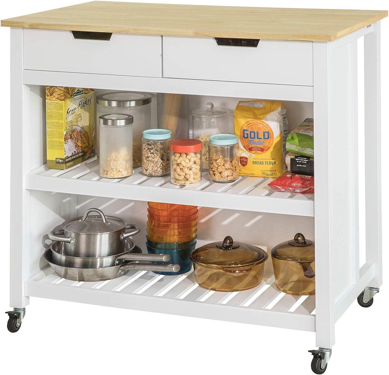 SoBuy® FKW3-WN, Kitchen Storage Trolley Kitchen Storage Shelf Kitchen  Breakfast Dining Bar Table, White & Natural