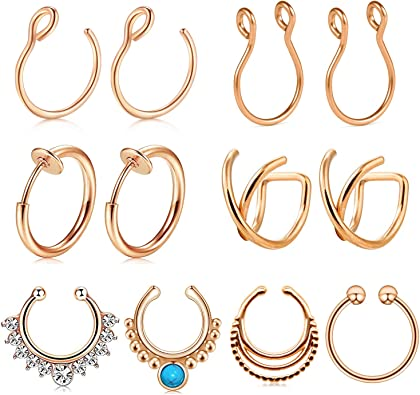 Amazon Com Jforyou 12pcs Stainless Steel Ear Cuff Ear Clips Non Piercing Cartilage Earrings Fake Nose Lip Suptum Ring Set For Men Women 8 Various Styles Rose Gold Faux Body Piercing Jewelry Jewelry
