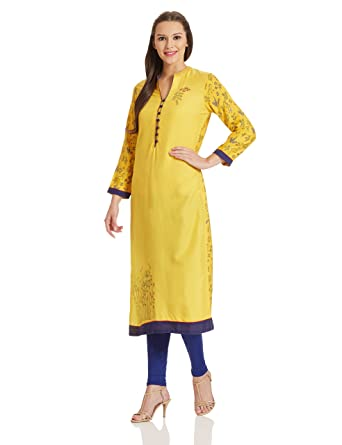 BIBA Women's Straight Kurta Kurtas at amazon