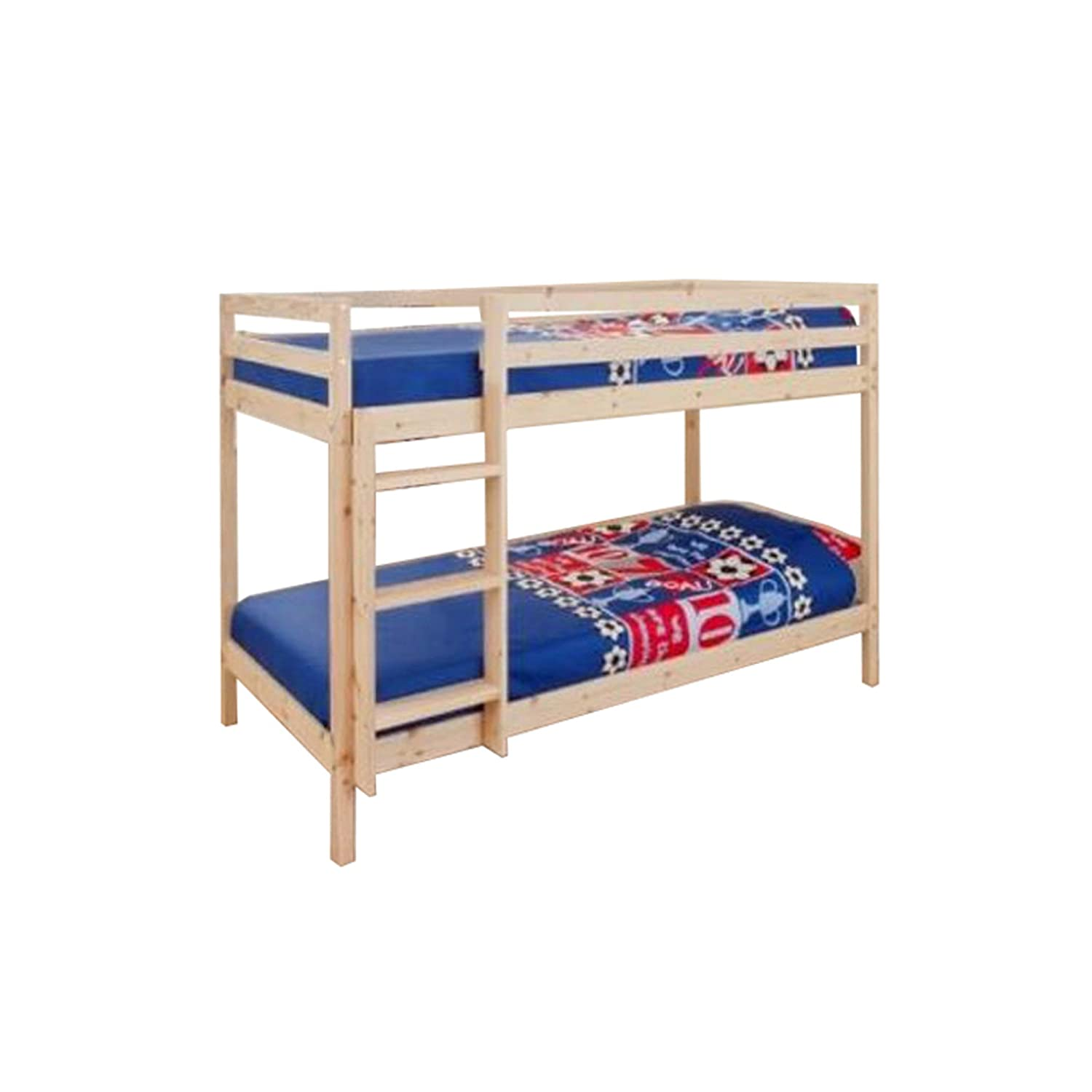 2ft6 Small Single Wooden Bunk Bed In Natural Pine Zara Amazoncouk Kitchen Home