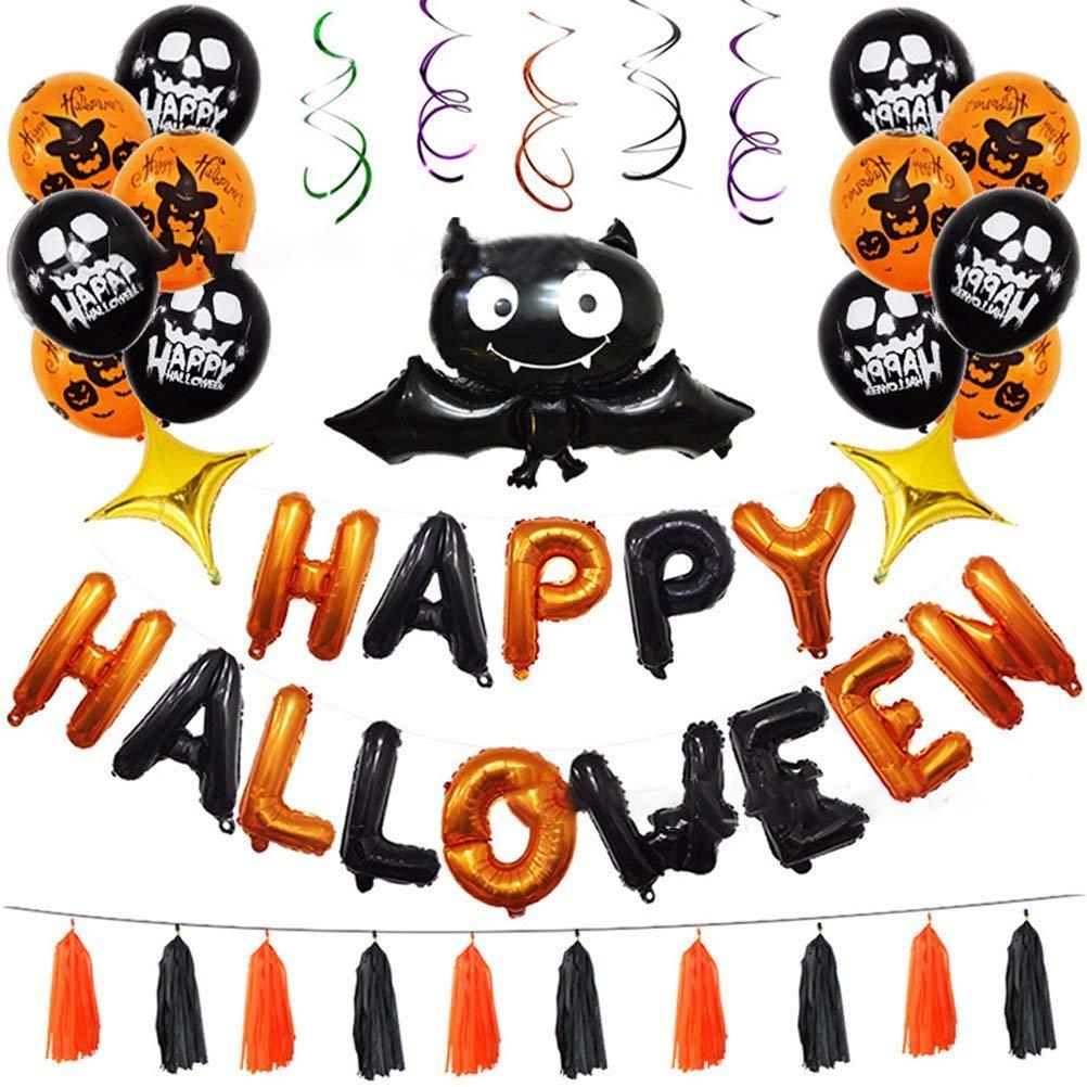 Halloween balloon decoration set - Halloween Bat foil air Inflatable Balloon Decoration,Halloween Party Supplies for Festival Celebration Party (45 Pcs)