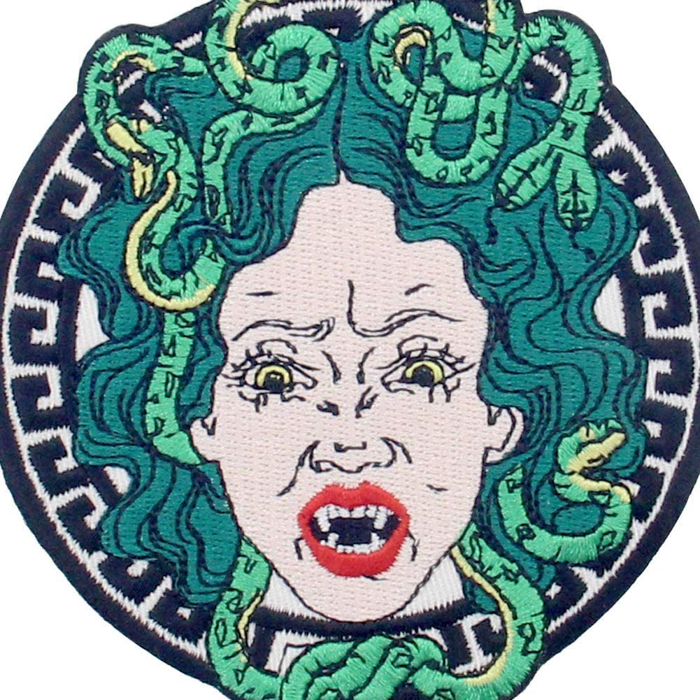 The Angry Medusa Patch Embroidered Applique Badge Iron On Sew On Emblem