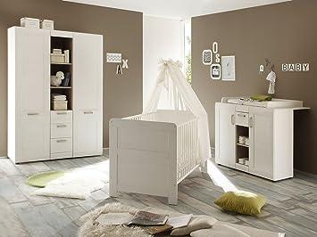 Babyzimmer möbel natur  Babyzimmer Kinderzimmer Komplettset Baby Möbel Schrank Bett Kommode ...