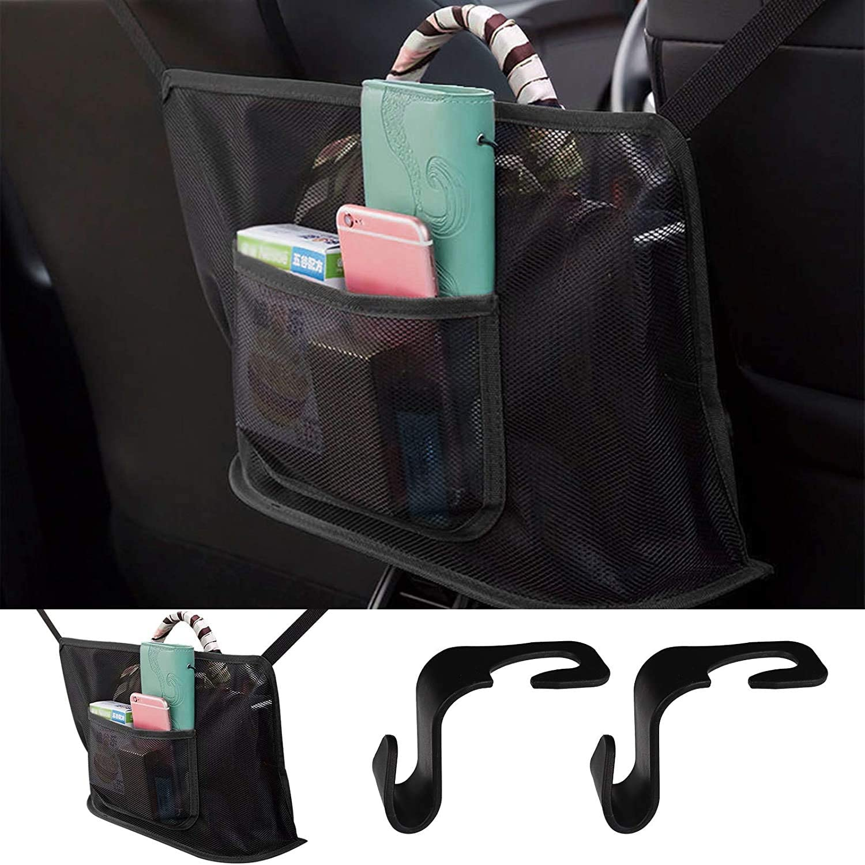 Car Net Pocket Handbag Holder, Seat Back Organizer with 2 Headrest Hooks, Handbag Holder for Car, Large Capacity Car Seat Storage Net Bag for Purse Storage Phone Documents Pocket