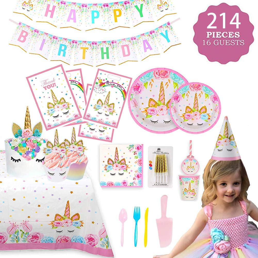 Birthday Them Party Supplies with Plates Cups Straws Tablecover for Birthday Party Serve 16 Guests by Shelling Home