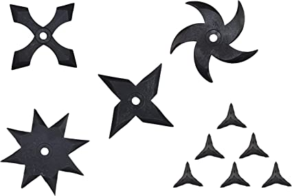 TAKUMITOUBOU Soft Rubber Ninja Stars - Ninja Star(Shuriken) 4 Pcs and Makibishi 6 Pcs Pack