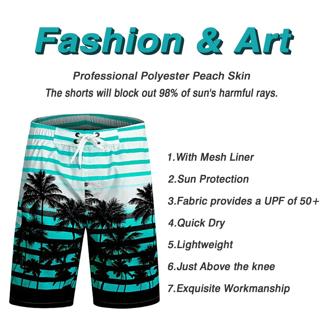 Line Art Mens Beach Board Shorts Quick Dry Summer Casual Swimming Soft Fabric with Pocket