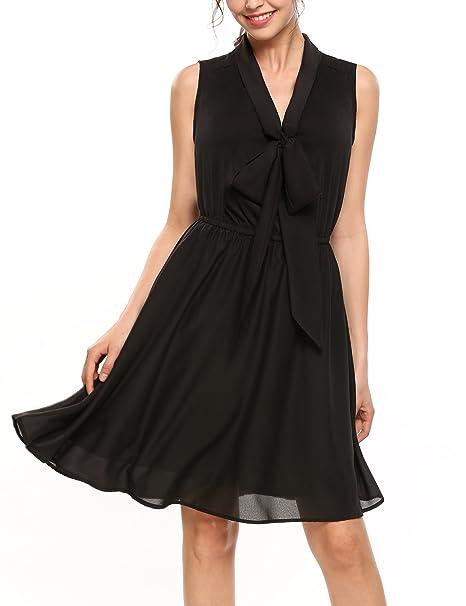 ... Sommerkleid Ärmellos Chiffon Kleid Skaterkleid A-Linie Festliches  Partykleid Abendkleid Knielang Kleider mit Gürtel Fliege  Amazon.de   Bekleidung fa00e9f452