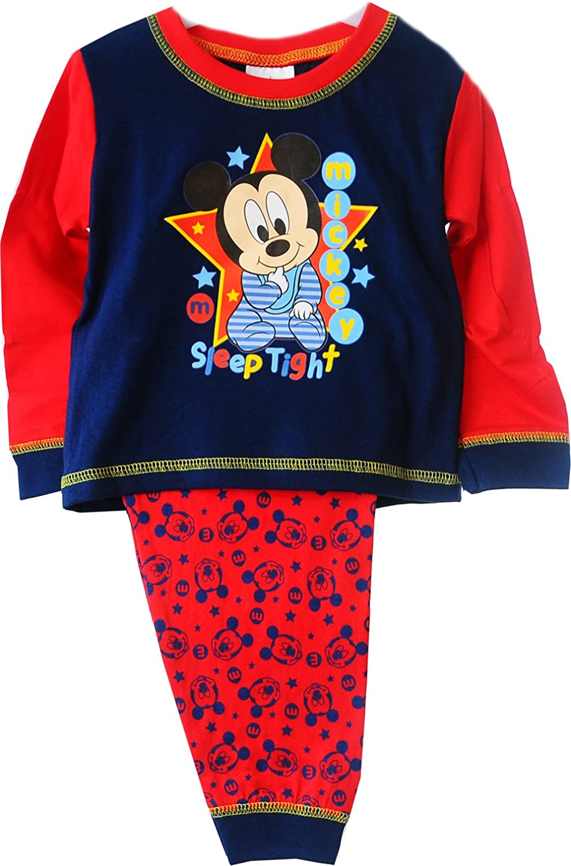 Mickey Mouse Baby Pyjama Schlafanzug Set 62 68 74 80 86 Shirt Hose Blau Rot