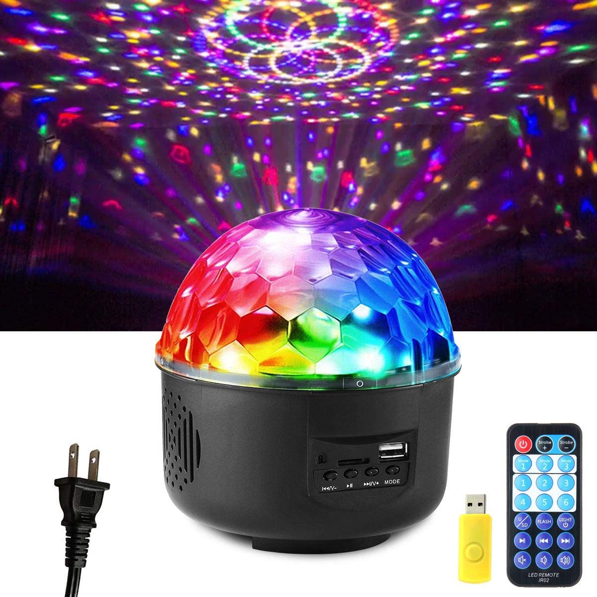 Aolvo Disco Ball Light Projector, DJ Ball Lights Sound Activated Multi Pattern Disco Ball Strobe Light Speaker with Remote Control and USB Flash Drive for Party Bar Karaoke Xmas Wedding Show Club
