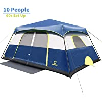 OT QOMOTOP Tents, 4/6/8/10 Person 60 Seconds Set Up Camping Tent, Waterproof Pop Up Tent with Top Rainfly, Instant Cabin…