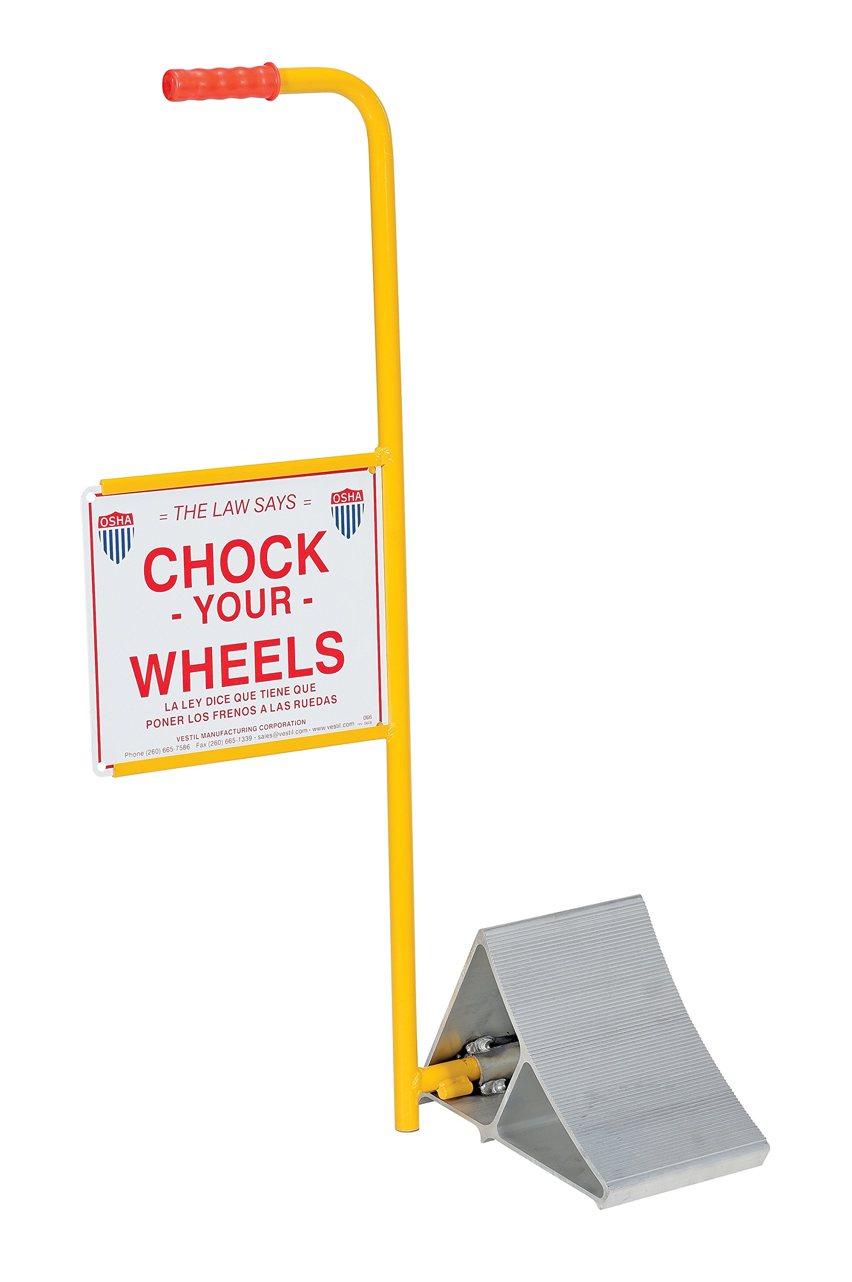 Vestil EALUM-7-HS Extruded Aluminum Wheel Chock with Handle and Sign, 21-3/16'' Width, 37-9/16'' Height, 11-7/8'' Length