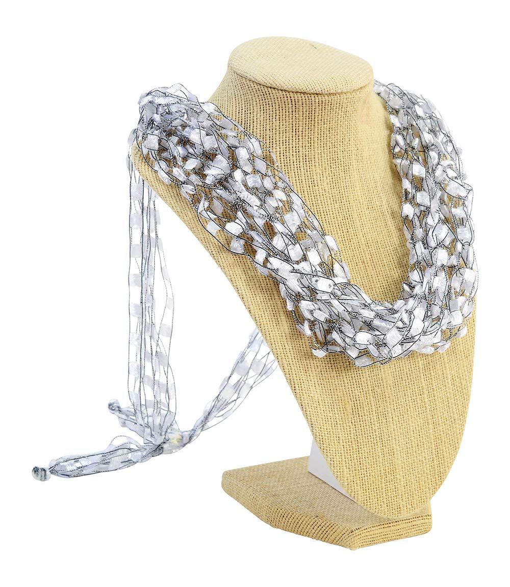 Wearable Art Accessory LIGHTWEIGHT Crochet Italian Yarn Necklace Scarf- Moonstone
