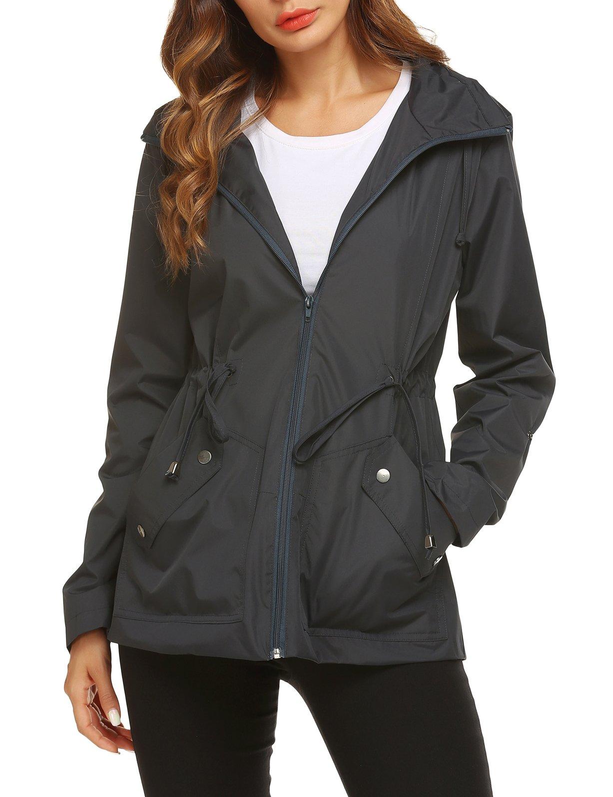 ZHENWEI Ladies Raincoat Fashionable Waterproof Fashionable with Drawstring Hood Camping