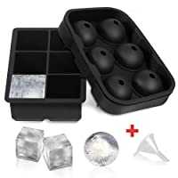 Ice Cube Trays,【2 Set】 SLGOL Flexible Silicone Sphere Whiskey 6 Ice Ball Maker with 6 Large Square Ice Cube Molds for Whiskey Cocktail or Baby Food - Reusable & BPA Free