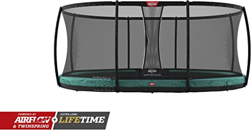 Berg Trampoline Inground Champion Oval 17ft with Safety Enclosure Net Deluxe Trampoline for Kids, High Performance Safety Features, Lifetime Warrenty, Jump Higher with TwinSpring and Airflow