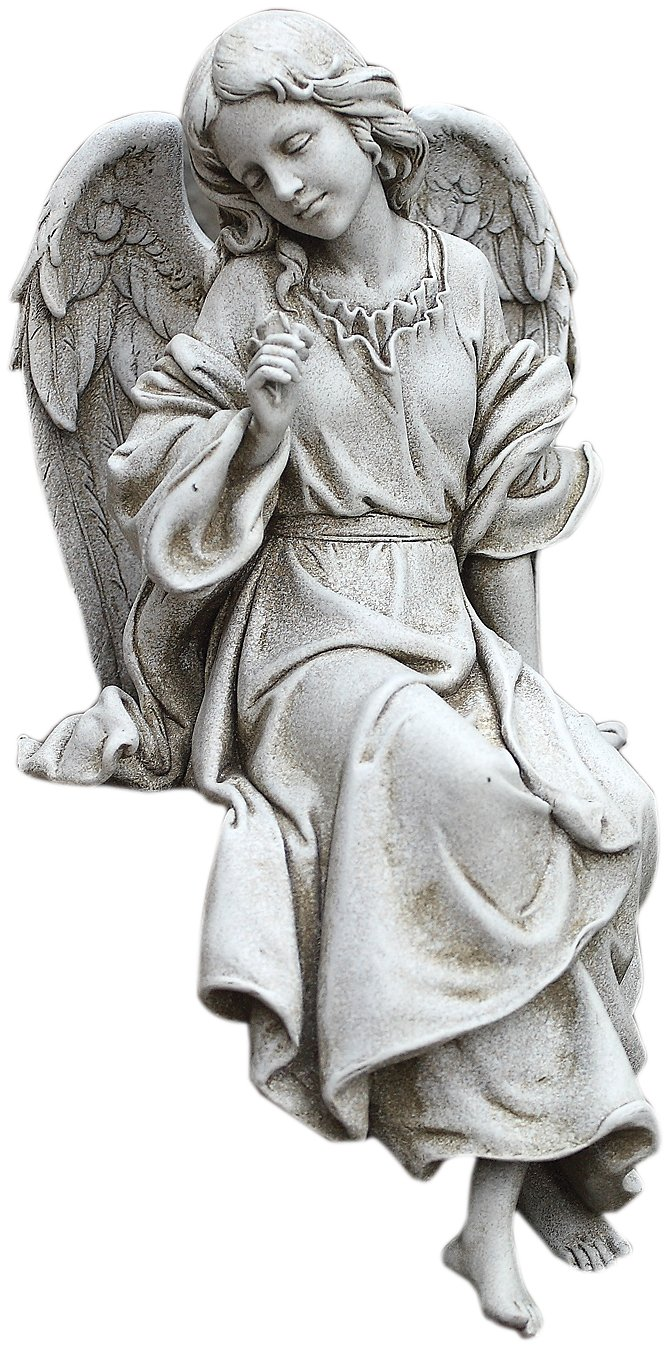 Joseph Studio 64554 Tall Sitting Angel Looking Down Statue, 12-Inch
