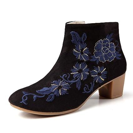 YAN Botines de Mujer Otoño Invierno áspero Tacones Altos Zapatos Cheongsam Bordados Tacón Medio Cremallera Botines